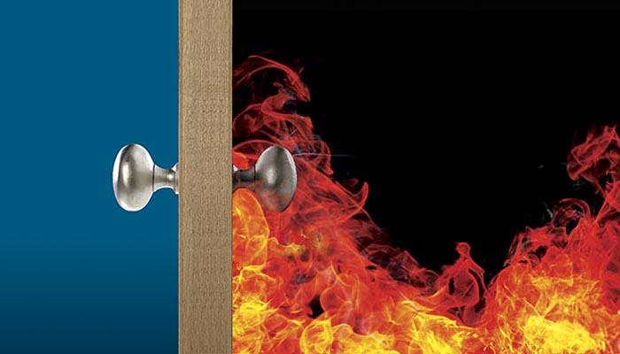 fire behind door